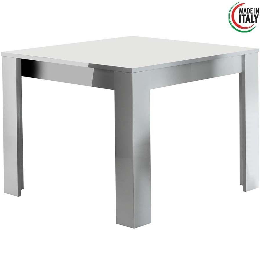 Vierkante Eettafel 100 X 100.Eettafel Modena Hoogglans Wit 100x100