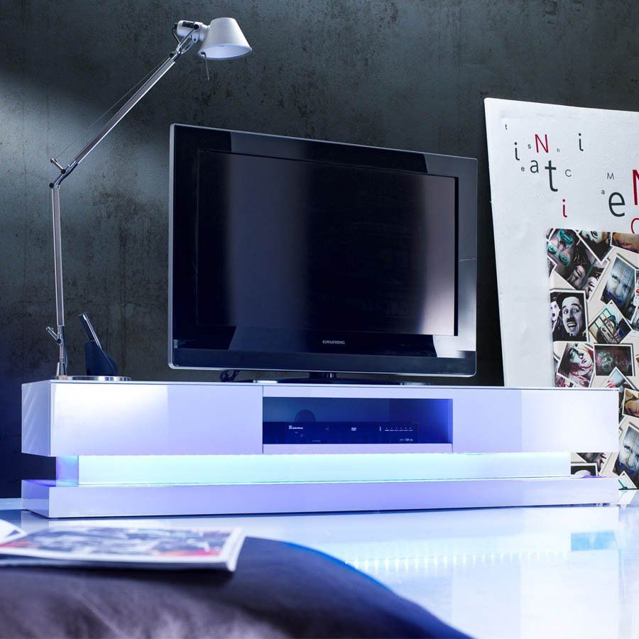 Design Hoogglans Tv Meubel.Tv Meubel Jovani Design Step Hoogglans Wit Met Led Verlichting