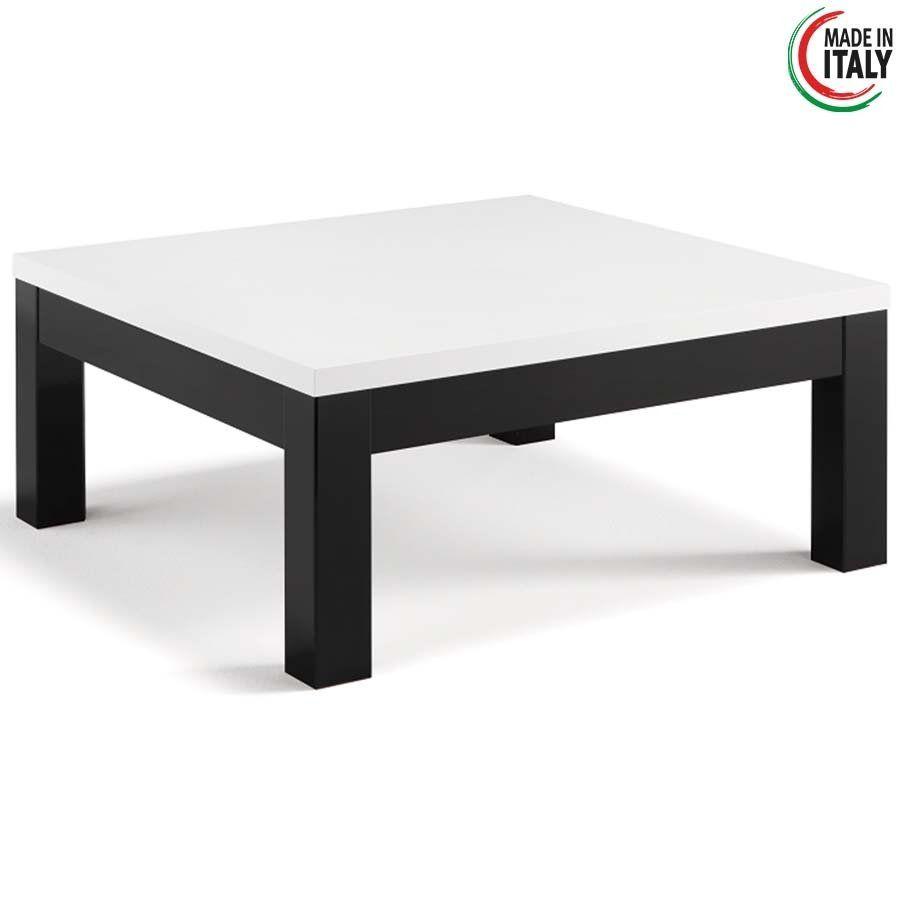 Vierkante Witte Salontafel.Salontafel Roma Hoogglans Wit En Zwart 100x100