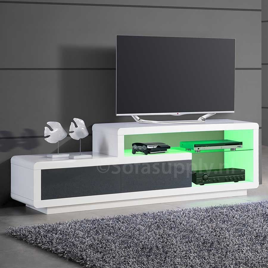 Design Hoogglans Tv Meubel.Jovani Design Hoogglans Wit En Grijs Tv Meubel Delia Met Led