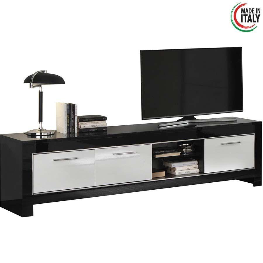 Tv Kast Zwart Wit.Tv Meubel Modena 3d Hoogglans Wit En Zwart