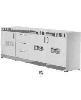 Dressoir Divina Grace 4D Hoogglans wit en zilver