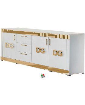 Dressoir Divina Grace 4D Hoogglans wit en goud