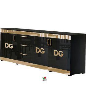 Dressoir Divina Grace 4D Hoogglans Zwart en goud