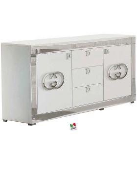 Italiaans hoogglans dressoir wit en zilver luxury