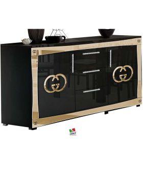 Italiaans dressoir Luxury hoogglans zwart en goud