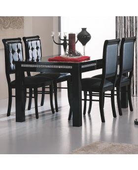 Eettafel prestige hoogglans zwart met Swarovski