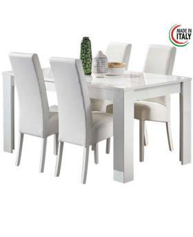 Eettafel Greta hoogglans wit