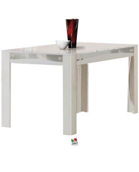 Eettafel Luxury wit en zilver hoogglans