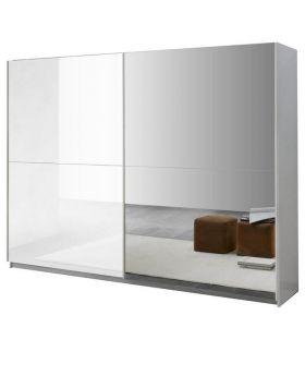 Schuifdeurkast Kenza wit hoogglans met spiegel