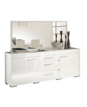 Kristal Italiaans hoogglans wit spiegel met Swarovski