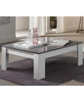 Vierkante salontafel Modena hoogglans wit en marmer