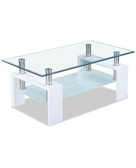 Witte hoogglans salontafel u-frame Alana