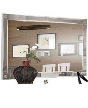 Luxury hoogglans wit en zilveren spiegel