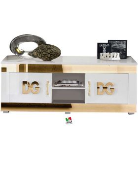 Tv-meubel Divina Grace hoogglans wit en goud