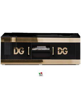 Italiaans hoogglans zwart en goud tv-meubel Divina Grace
