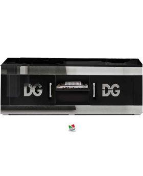 Tv-meubel Divina Grace hoogglans zwart en zilver