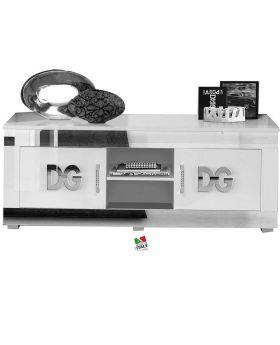 Tv-meubel Divina Grace hoogglans wit en zilver