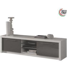 Tv-meubel Fano hoogglans wit en grijs