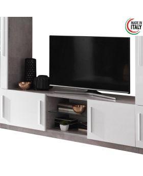 Tv-meubel Greta hoogglans wit en marmer