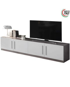 Tv-meubel Greta 4D hoogglans wit en marmer