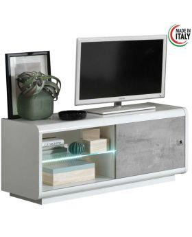 Tv-meubel Luna 1D Hoogglans wit en marmer