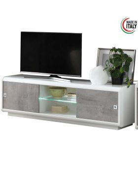 Tv-meubel Luna hoogglans wit en marmer 2D