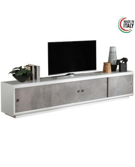 Tv-meubel Luna hoogglans wit en marmer 4d