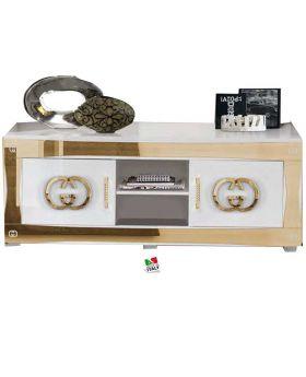 Hoogglans wit en gouden tv-meubel Luxury