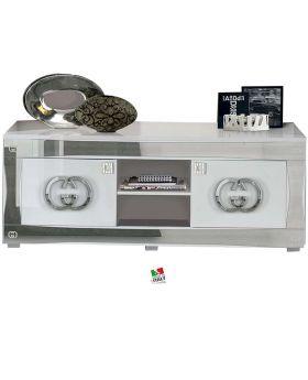 Hoogglans wit en zilveren tv-meubel Italiaans Luxury