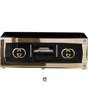 Tv-meubel Luxury hoogglans zwart en goud