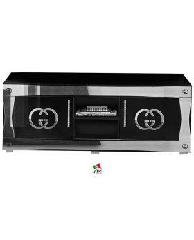 Tv-meubel hoogglans zwart en zilver luxury