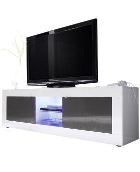 Tv-meubel Mobili Basic hoogglans wit en antraciet