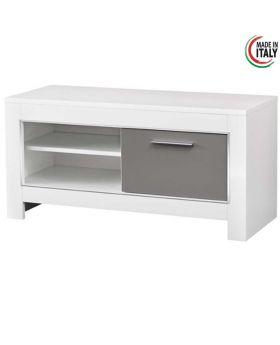 Tv-meubel Modena 1D Hoogglans wit en grijs
