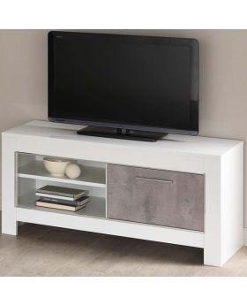Tv-meubel Modena 1D Hoogglans Wit en Marmer