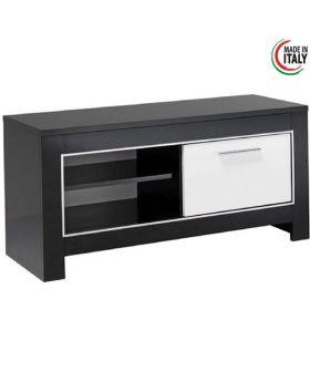 Tv-meubel Modena 1D Hoogglans Wit en Zwart