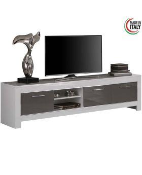 modena tv-meubel 3D hoogglans wit en grijs