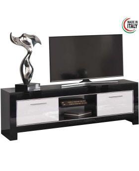 tv-meubel Modena 2D hoogglans wit en zwart