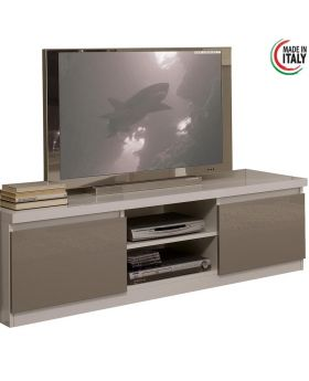 Tv-meubel Roma hoogglans wit en licht grijs
