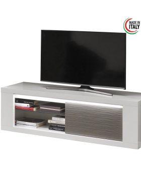 Tv-meubel Venezia 1D Hoogglans wit en grijs