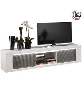 Tv-meubel Venezia 2D Hoogglans wit en grijs