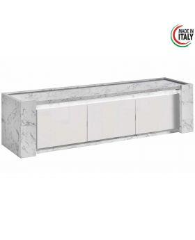 Tv-meubel Vittoria XL hoogglans wit en marmer