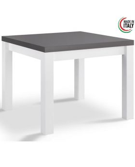 Vierkante eettafel Fano hoogglans wit en grijs