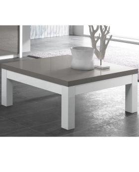 Vierkante salontafel Fano hoogglans wit en grijs