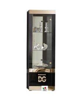 Italiaans hoogglans vitrinekast Divina Grace 1D zwart en goud