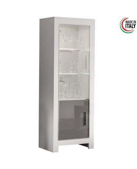 vitrinekast modena 2D hoogglans wit en grijs